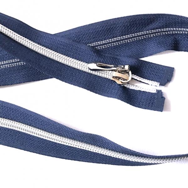 Teilbarer Reißverschluss, 75cm, dunkelblau, silberne Laufschiene